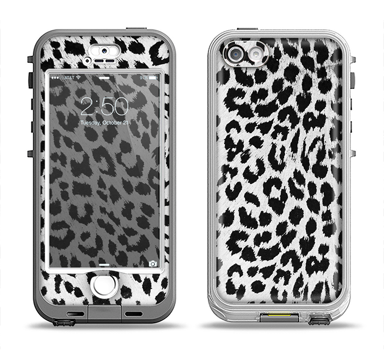 The Vector Leopard Animal Print Apple iPhone 5-5s LifeProof Nuud Case Skin Set