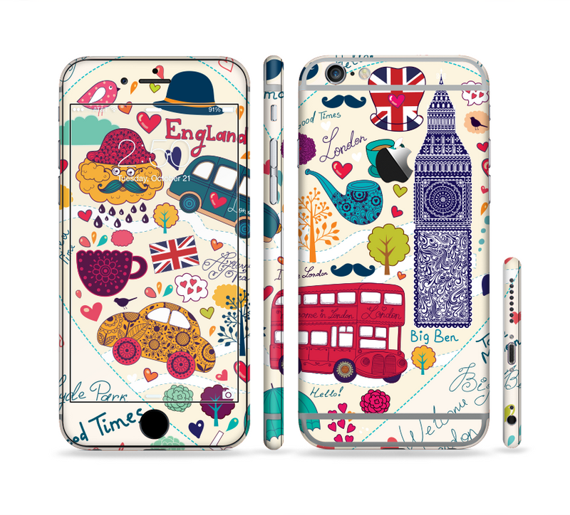 The Vector London Sketchbook Collage Sectioned Skin Series for the Apple iPhone 6/6s Plus