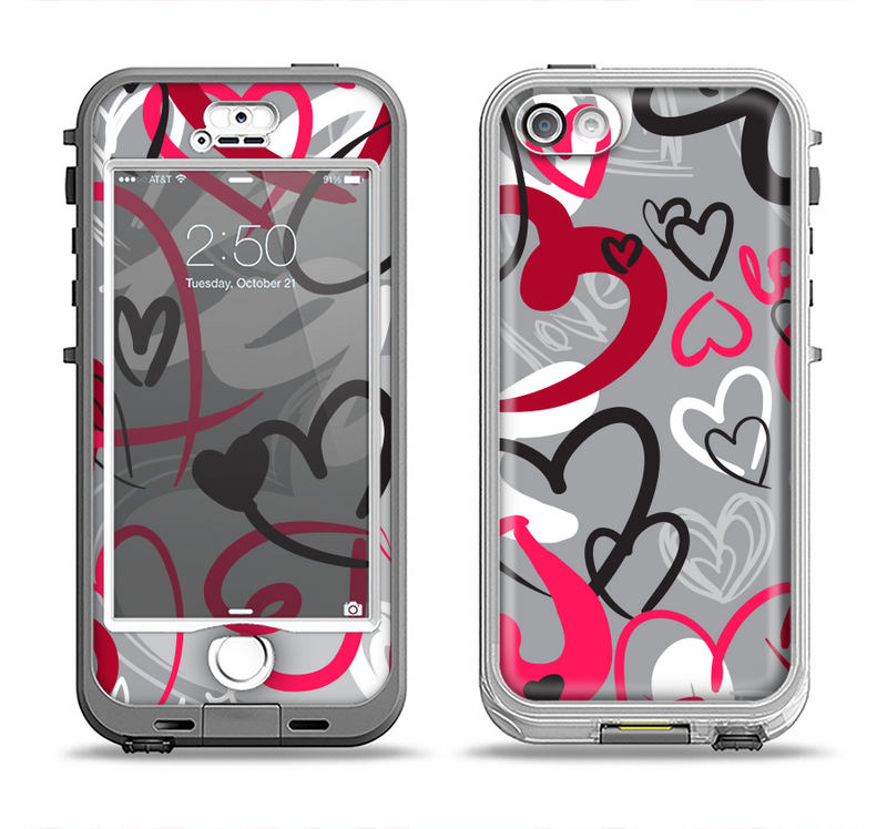 The Vector Love Hearts Collage Apple iPhone 5-5s LifeProof Nuud Case Skin Set
