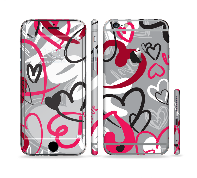 The Vector Love Hearts Collage Sectioned Skin Series for the Apple iPhone 6/6s Plus