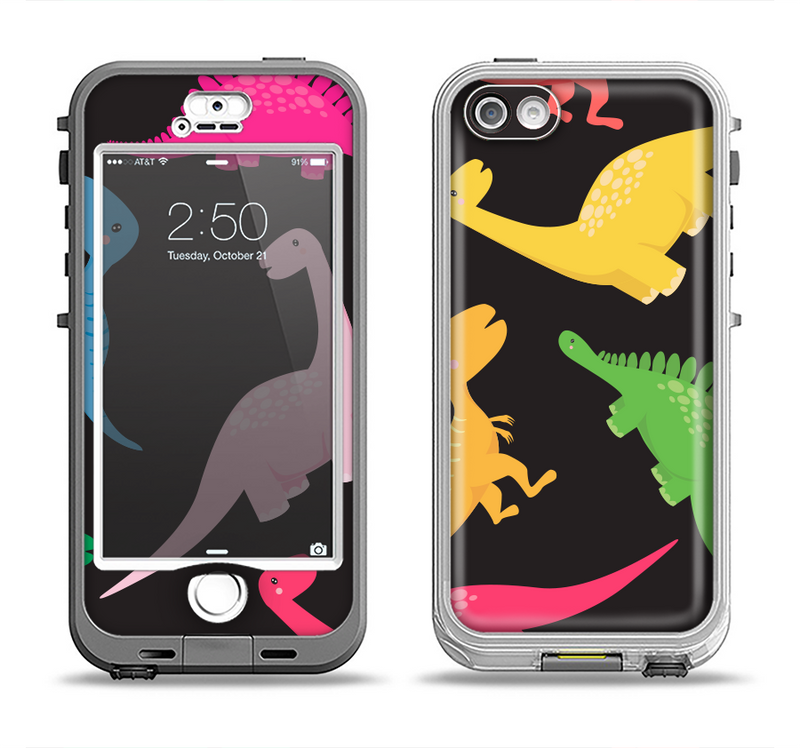 The Vector Neon Dinosaur Apple iPhone 5-5s LifeProof Nuud Case Skin Set