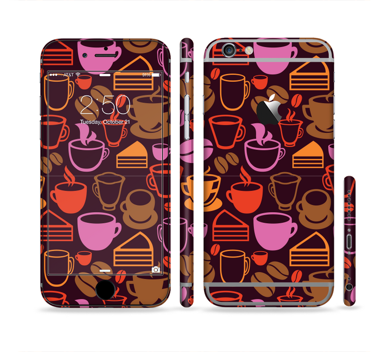 The Vector Orange & Pink Coffee Time Sectioned Skin Series for the Apple iPhone 6/6s Plus