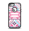 The Vector Pink & White Modern Aztec Pattern Apple iPhone 5-5s Otterbox Defender Case Skin Set