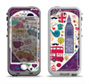 The Vector Purple Heart London Collage Apple iPhone 5-5s LifeProof Nuud Case Skin Set