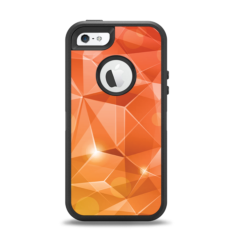 The Vector Shiny Coral Crystal Pattern Apple iPhone 5-5s Otterbox Defender Case Skin Set