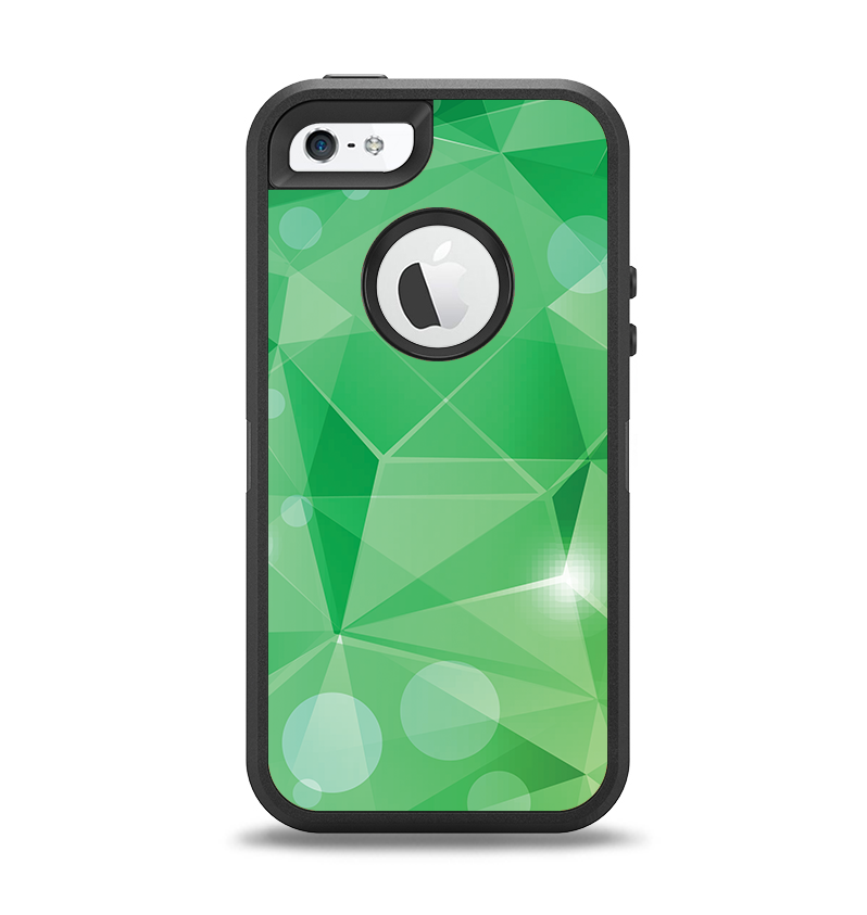 The Vector Shiny Green Crystal Pattern Apple iPhone 5-5s Otterbox Defender Case Skin Set