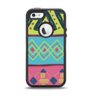 The Vector Sketched Yellow-Teal-Pink Aztec Pattern Apple iPhone 5-5s Otterbox Defender Case Skin Set