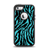 The Vector Teal Zebra Print Apple iPhone 5-5s Otterbox Defender Case Skin Set
