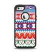 The Vector White-Blue-Red Aztec Pattern Apple iPhone 5-5s Otterbox Defender Case Skin Set