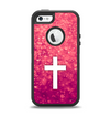 The Vector White Cross over Unfocused Pink Glimmer Apple iPhone 5-5s Otterbox Defender Case Skin Set