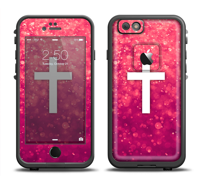 The Vector White Cross over Unfocused Pink Glimmer Apple iPhone 6/6s LifeProof Fre Case Skin Set