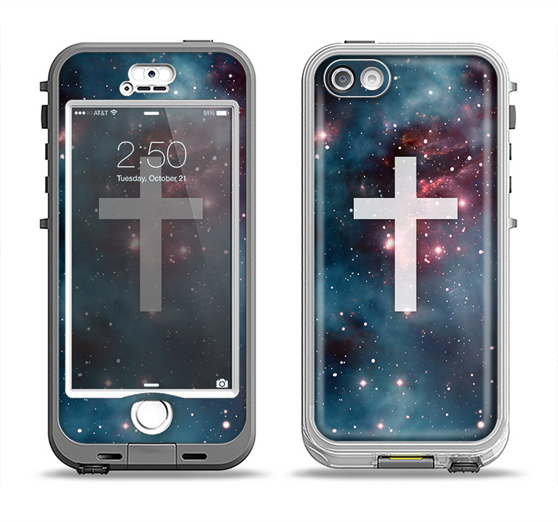 The Vector White Cross v2 over Bright Pink Nebula Space Apple iPhone 5-5s LifeProof Nuud Case Skin Set