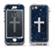 The Vector White Cross v2 over Bright Starry Sky Apple iPhone 5-5s LifeProof Nuud Case Skin Set