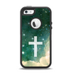 The Vector White Cross v2 over Cloudy Abstract Green Nebula Apple iPhone 5-5s Otterbox Defender Case Skin Set