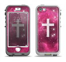 The Vector White Cross v2 over Glowing Pink Nebula Apple iPhone 5-5s LifeProof Nuud Case Skin Set