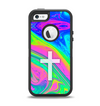 The Vector White Cross v2 over Neon Color Fushion V3 copy Apple iPhone 5-5s Otterbox Defender Case Skin Set