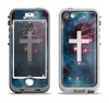 The Vector White Cross v2 over Red Nebula Apple iPhone 5-5s LifeProof Nuud Case Skin Set
