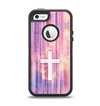 The Vector White Cross v2 over Vibrant Fading Purple Fabric Streaks Apple iPhone 5-5s Otterbox Defender Case Skin Set