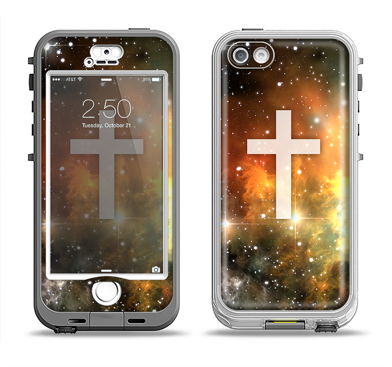 The Vector White Cross v2 over Yellow Nebula Apple iPhone 5-5s LifeProof Nuud Case Skin Set