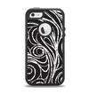 The Vector White and Black Segmented Swirls Apple iPhone 5-5s Otterbox Defender Case Skin Set