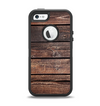 The Vetrical Raw Dark Aged Wood Planks Apple iPhone 5-5s Otterbox Defender Case Skin Set