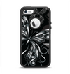 The Vibrant Black & Silver Butterfly Outline Apple iPhone 5-5s Otterbox Defender Case Skin Set