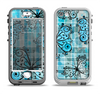 The Vibrant Blue Butterfly Plaid Apple iPhone 5-5s LifeProof Nuud Case Skin Set