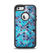 The Vibrant Blue Glow-Tiles Apple iPhone 5-5s Otterbox Defender Case Skin Set