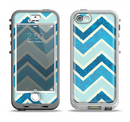 The Vibrant Blue Vintage Chevron V3 Apple iPhone 5-5s LifeProof Nuud Case Skin Set