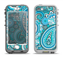 The Vibrant Blue and White Paisley Design  Apple iPhone 5-5s LifeProof Nuud Case Skin Set
