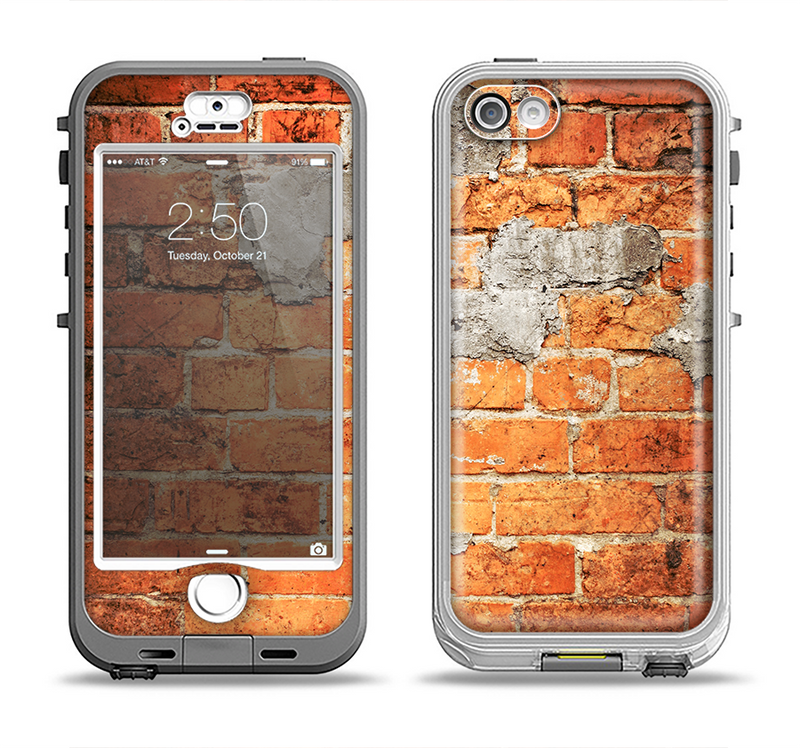 The Vibrant Brick Wall Apple iPhone 5-5s LifeProof Nuud Case Skin Set