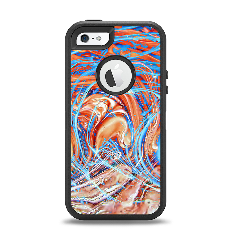 The Vibrant Color Oil Swirls Apple iPhone 5-5s Otterbox Defender Case Skin Set