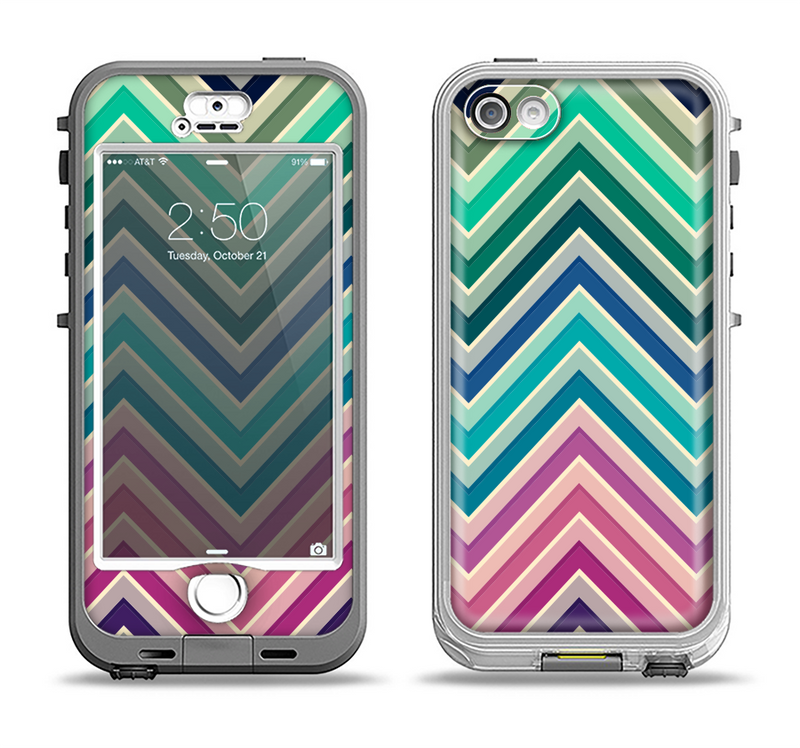 The Vibrant Colored Chevron Layered V4 Apple iPhone 5-5s LifeProof Nuud Case Skin Set