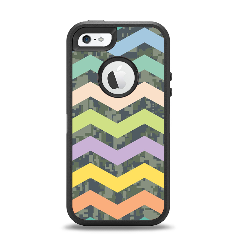 The Vibrant Colored Chevron With Digital Camo Background Apple iPhone 5-5s Otterbox Defender Case Skin Set