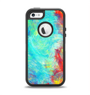 The Vibrant Colored Messy Painted Canvas Apple iPhone 5-5s Otterbox Defender Case Skin Set