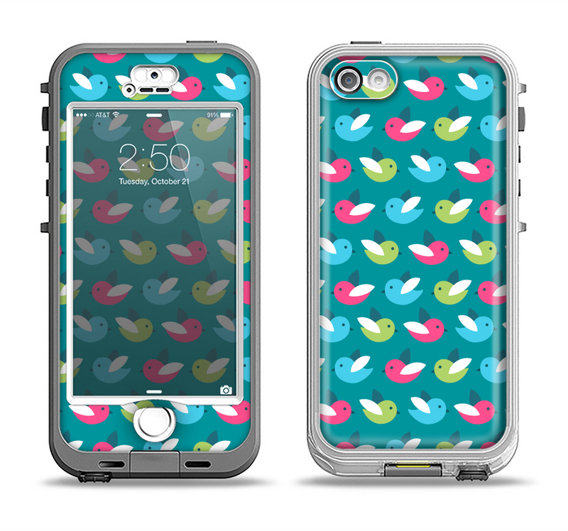 The Vibrant Colored Vector Bird Collage Apple iPhone 5-5s LifeProof Nuud Case Skin Set