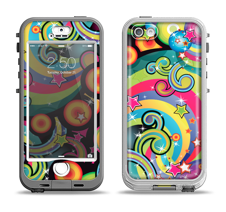 The Vibrant Fun Sprouting Shapes Apple iPhone 5-5s LifeProof Nuud Case Skin Set