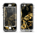 The Vibrant Gold Butterfly Outline Apple iPhone 5-5s LifeProof Nuud Case Skin Set