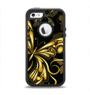 The Vibrant Gold Butterfly Outline Apple iPhone 5-5s Otterbox Defender Case Skin Set