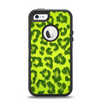 The Vibrant Green Cheetah Apple iPhone 5-5s Otterbox Defender Case Skin Set