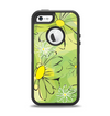 The Vibrant Green Outlined Floral Apple iPhone 5-5s Otterbox Defender Case Skin Set