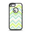 The Vibrant Green Vintage Chevron Pattern Apple iPhone 5-5s Otterbox Defender Case Skin Set