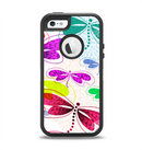 The Vibrant Neon Vector Butterflies Apple iPhone 5-5s Otterbox Defender Case Skin Set
