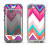 The Vibrant Pink & Blue Chevron Pattern Apple iPhone 5-5s LifeProof Nuud Case Skin Set