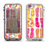 The Vibrant Pink & Yellow Flip-Flop Vector Apple iPhone 5-5s LifeProof Nuud Case Skin Set