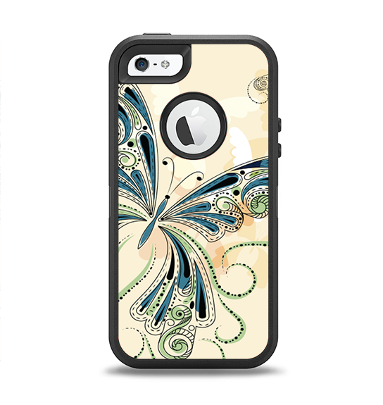 The Vibrant Tan & Blue Butterfly Outline Apple iPhone 5-5s Otterbox Defender Case Skin Set