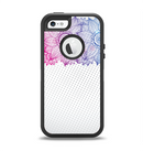 The Vibrant Vintage Polka & Sketch Pink-Blue Floral Apple iPhone 5-5s Otterbox Defender Case Skin Set
