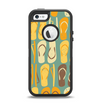 The Vinatge Blue & Yellow Flip-Flops Apple iPhone 5-5s Otterbox Defender Case Skin Set