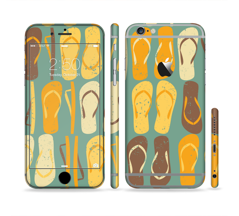 The Vinatge Blue & Yellow Flip-Flops Sectioned Skin Series for the Apple iPhone 6/6s Plus