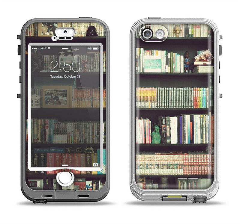 The Vintage Bookcase V2 Apple iPhone 5-5s LifeProof Nuud Case Skin Set